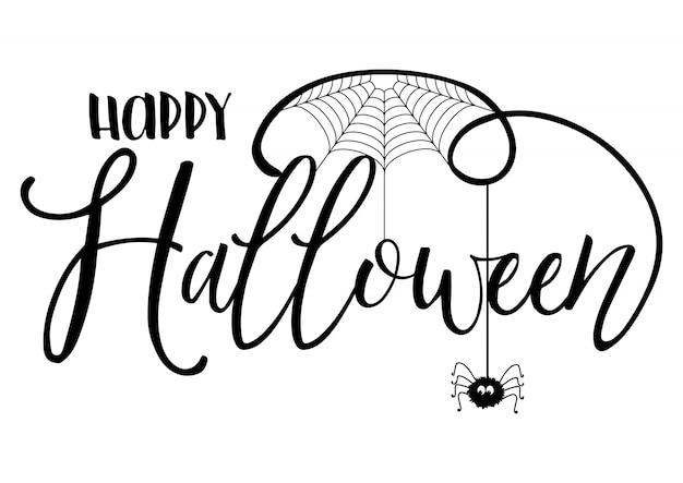 Fundo de texto de halloween com aranha e teia de aranha