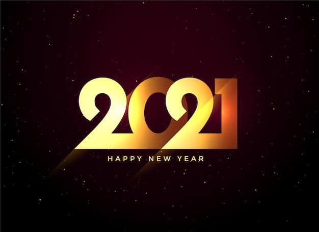 Fundo de texto dourado de feliz ano novo 2021