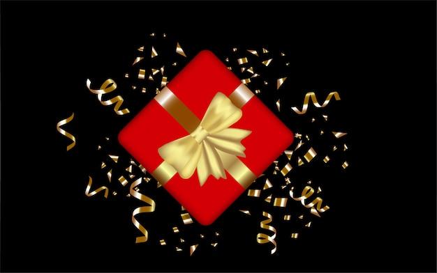 Fundo de texto feliz aniversário com modelo de design de caixa de presente para festa de aniversário