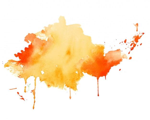 Fundo de textura de aquarela respingo amarelo e laranja