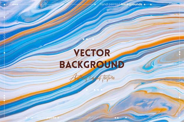 Fundo de textura de arte fluida com efeito de tinta espiralada abstrata imagem acrílica líquida com fluxos e respingos tintas misturadas para baner ou papel de parede azul laranja e branco cores transbordantes