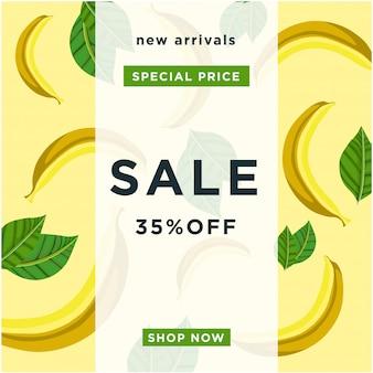 Fundo de textura de banana. oferta de cartaz especial para grandes vendas