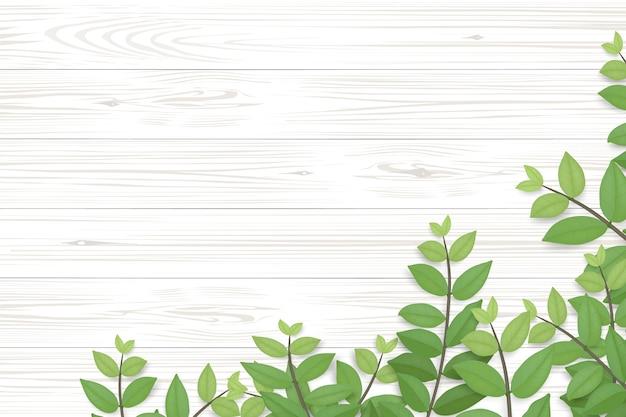 Fundo de textura de madeira e folhas verdes