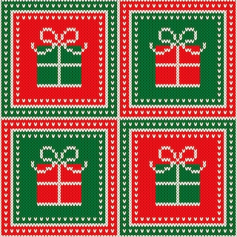 Fundo de textura de malha de lã sem costura para férias de natal com enfeite de caixa de presente