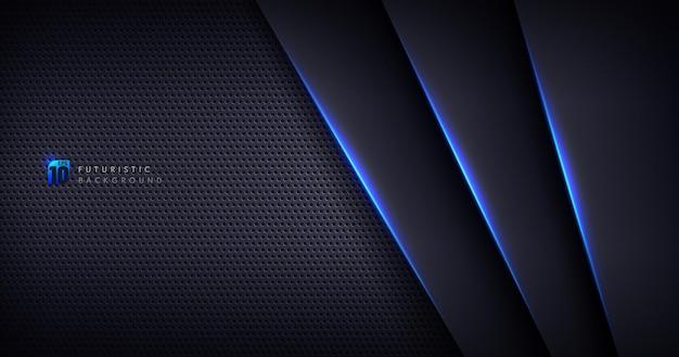 Fundo de textura de metal preto modelo abstrato com formas geométricas e linhas de iluminação azuis.