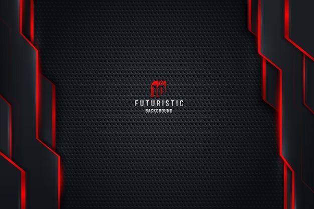 Fundo de textura de metal preto modelo abstrato com formas geométricas verticais e linhas de iluminação vermelhas.