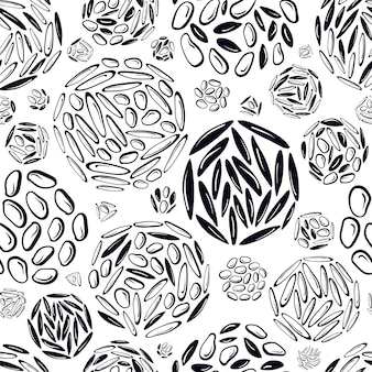 Fundo de textura de padrão circular abstrato sem costura diferentes tipos de grãos de arroz