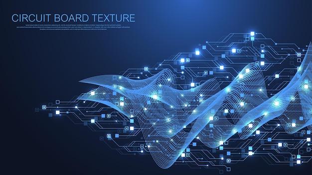 Fundo de textura de placa de circuito abstrato de tecnologia. papel de parede de banner de placa de circuito futurista de alta tecnologia. dados digitais. placa-mãe eletrônica de engenharia. ilustração vetorial de big data de matriz mínima
