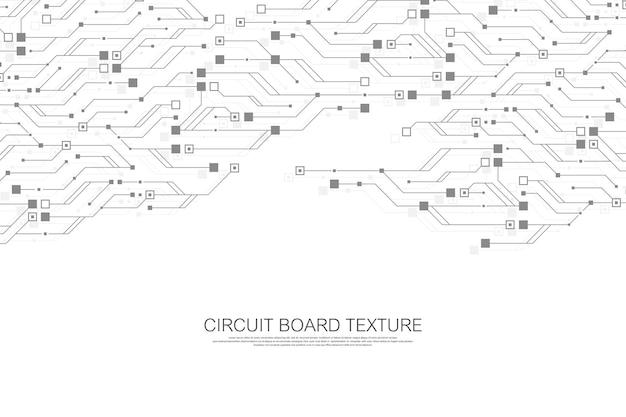 Fundo de textura de placa de circuito abstrato de tecnologia. papel de parede de banner de placa de circuito futurista de alta tecnologia. ilustração em vetor placa-mãe eletrônica de engenharia. conceito de comunicação tecnológica
