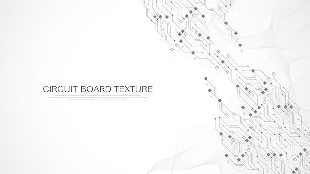 Fundo de textura de placa de circuito de tecnologia. papel de parede abstrato do banner da placa de circuito. indústria de dados digitais. placa-mãe eletrônica de engenharia. fluxo de ondas, ilustração vetorial.