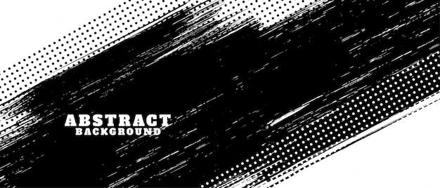 Fundo de textura de traçado de pincel grunge preto e branco