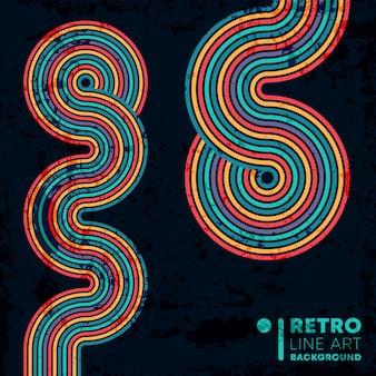 Fundo de textura grunge retrô com linhas coloridas vintage listradas.
