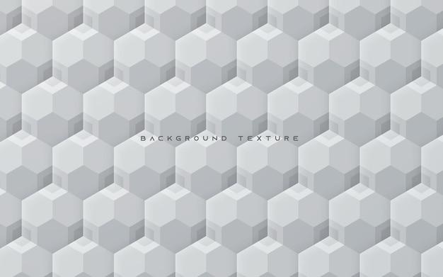 Fundo de textura hexágono 3d branco abstrato