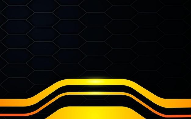 Fundo de textura preta com camadas modernas de dimensão de ouro