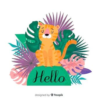 Fundo de tigre com folhas coloridas