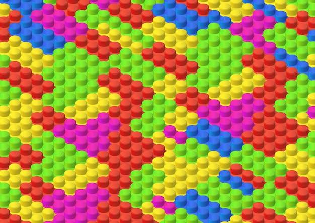Fundo de tijolo colorido isométrico
