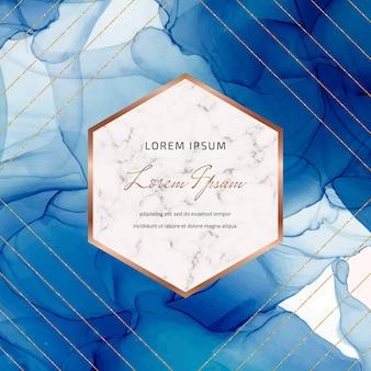 Fundo de tinta azul álcool com quadros de mármore geométricos, linhas de glitter dourados.