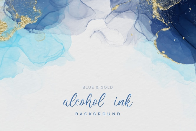 Fundo de tinta de álcool azul e dourado