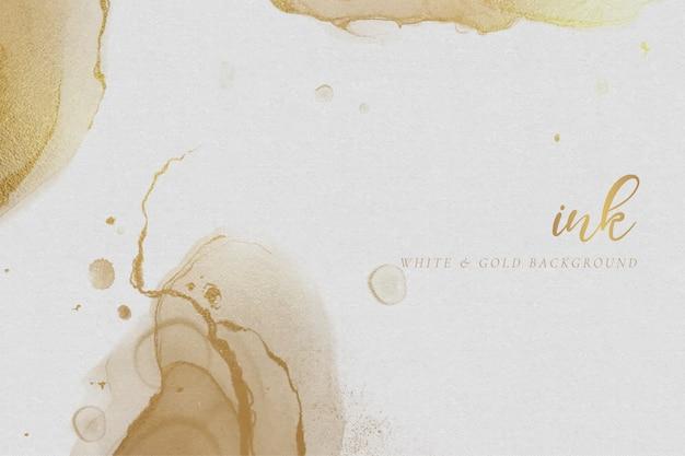 Fundo de tinta de álcool branco e dourado