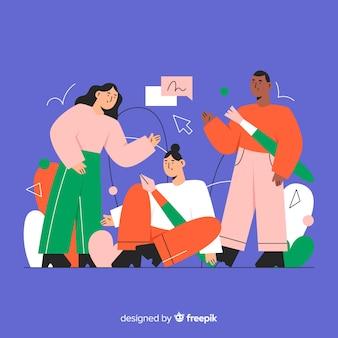 Fundo de trabalho em equipe de design gráfico