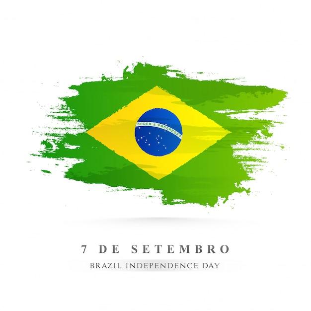 Fundo de traçado de pincel criativo bandeira nacional do brasil