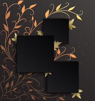 Fundo de três molduras pretas no padrão de hera dourada com um fundo gradiente preto