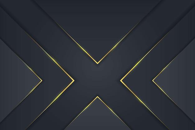 Fundo de triângulo de luxo simples com desenho vetorial de gradiente dourado escuro
