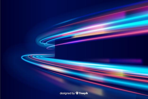 Fundo de trilha de luz ondulada de néon colorido