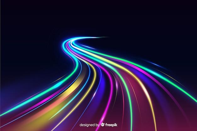 Fundo de trilha de luzes coloridas