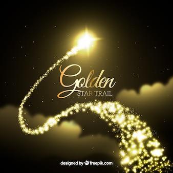 Fundo de trilhas de estrelas douradas elegantes