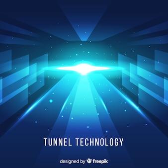 Fundo de túnel de luz azul tecnológico