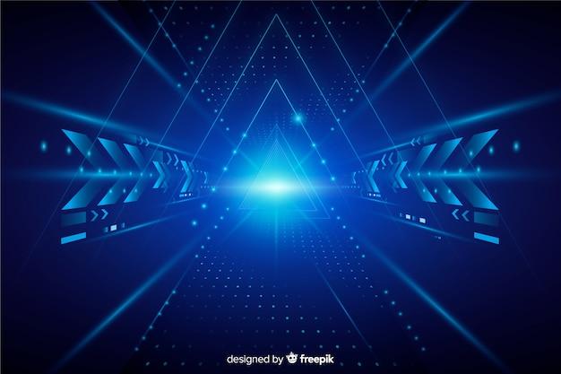 Fundo de túnel de luz de tecnologia realista