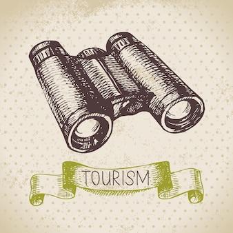 Fundo de turismo de esboço vintage. ilustração desenhada à mão para caminhada e acampamento