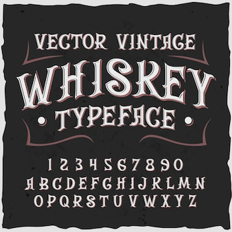Fundo de uísque com texto de rótulo de estilo vintage, dígitos ornamentados e letras com ilustração de moldura