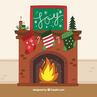 Fundo de uma lareira com decorações de natal