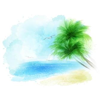 Fundo de uma paisagem marinha em aquarela