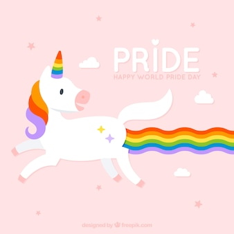 Fundo de unicórnio com dia de orgulho colorido