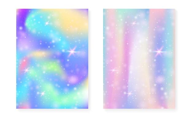 Fundo de unicórnio com gradiente mágico kawaii. holograma do arco-íris da princesa. conjunto de fadas holográficas. capa de fantasia criativa. fundo de unicórnio com brilhos e estrelas para convite de festa linda garota.