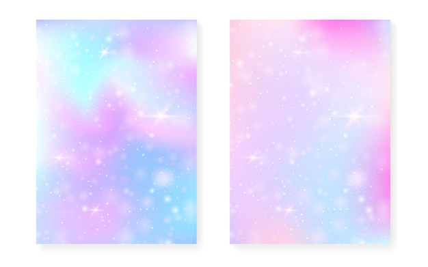 Fundo de unicórnio com gradiente mágico kawaii.