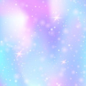 Fundo de unicórnio com malha de arco-íris. banner do universo kawaii nas cores da princesa. pano de fundo gradiente de fantasia com holograma. fundo de unicórnio holográfico com brilhos mágicos, estrelas e borrões.