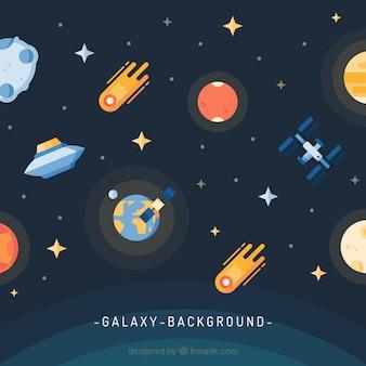Fundo de universo com terra e meteoritos