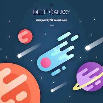 Fundo de universo e meteoritos em design plano