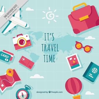 Fundo de vários elementos de viagem com mensagem