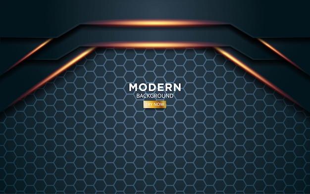 Fundo de vector premium verde escuro moderno com linhas douradas de luz na textura do hexágono.
