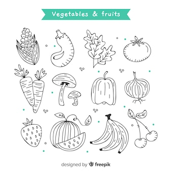 Fundo de vegetais e frutas de mão desenhada