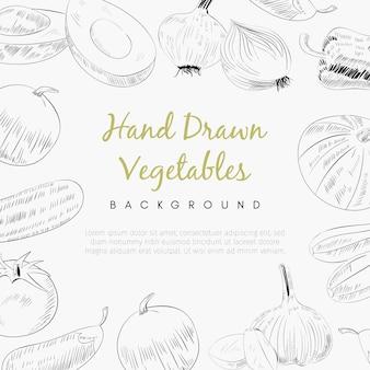 Fundo de vegetais mão desenhada