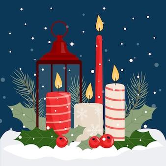 Fundo de vela de natal de design plano