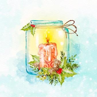 Fundo de vela de natal em aquarela