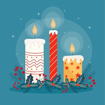 Fundo de vela de natal em design plano