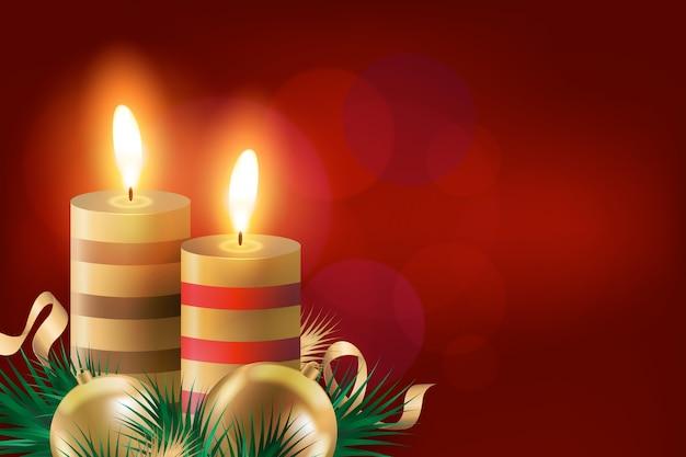 Fundo de vela de natal realista